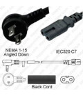 NEMA 1-15 Up/Down Male to C7 Female 1.8 Meters 10 Amp 125 Volt 18/2 SPT-2 Black Power Cord