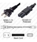 NEMA 1-15 Male to C7 Female 4.5 Meters 10 Amp 125 Volt 18/2 SPT-2 Black Power Cord - Polarized