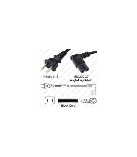 NEMA 1-15 Male to C7 Right/Left Angle Female 1.8 Meters 10 Amp 125 Volt 18/2 SPT-2 Black Power Cord