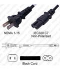 NEMA 1-15 Male to C7 Female 1.8 Meters 10 Amp 125 Volt 18/2 SVT Black Power Cord