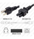 NEMA 5-15 Male to C5 Female 1.8 Meters 10 Amp 125 Volt 18/3 SJT Black Power Cord