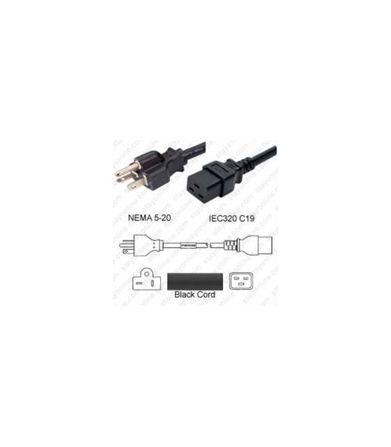 NEMA 5-20 Male to C19 Female 4.5 Meters 20 Amp 125 Volt 12/3 SJT Black Power Cord