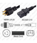 NEMA L6-20 Male to C13 Female 2.5 Meters 15 Amp 250 Volt 14/3 SJT Black Power Cord