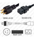 NEMA L6-20 Male to C19 Female 2.5 Meters 20 Amp 250 Volt 12/3 SJT Black Power Cord