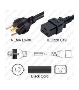 Locking NEMA L6-30 Male to C19 Female 2.5 Meters 20 Amp 250 Volt 12/3 SJT Black Power Cord