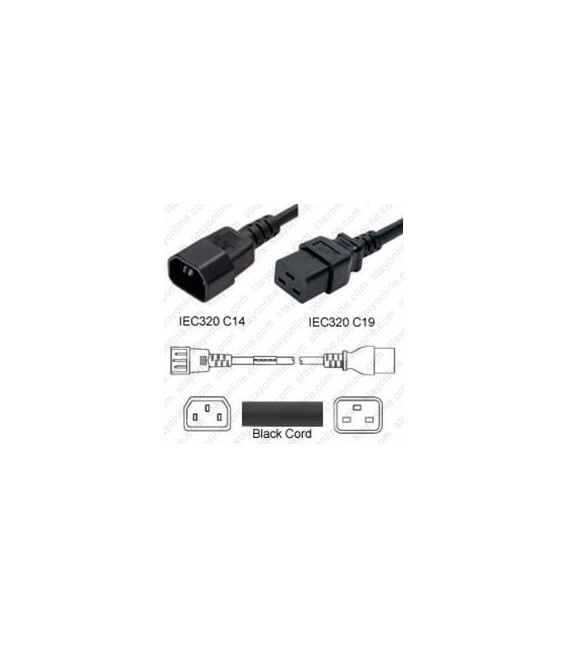 C14 Male to C19 Female 0.6 Meter 15 Amp 250 Volt 14/3 SJT Black Power Cord
