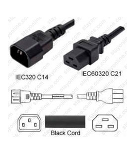 C14 Male to C21 Female 1.8 Meters 15 Amp 250 Volt 14/3 SJT Black Power Cord