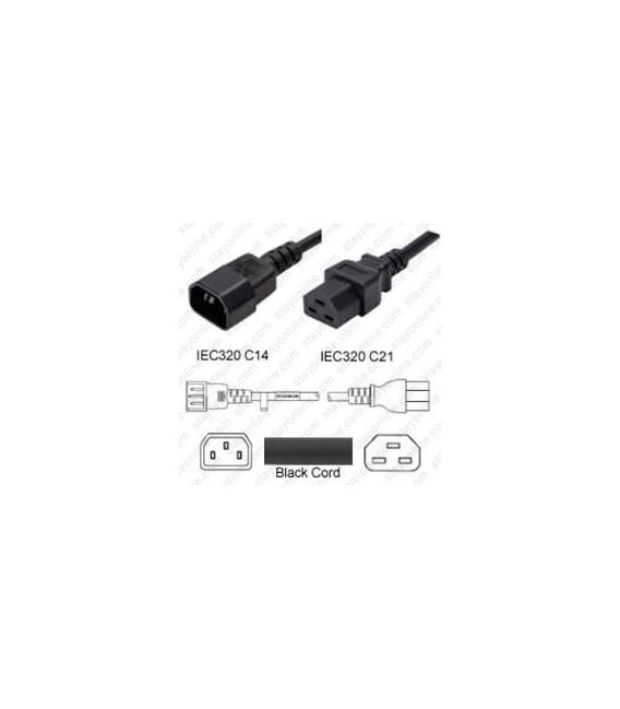 Cord C14/C21 Black 0.9m / 3' 15a/250v 14/3 SJT
