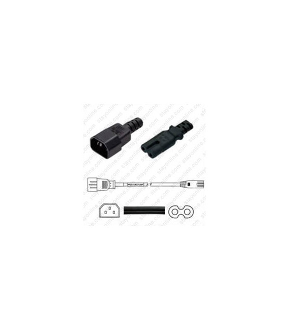 C14 Male to C7 Female 1.8 Meters 2.5 Amp 250 Volt 18/2 SPT-2 Black Power Cord