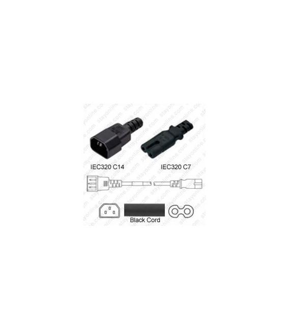 C14 Male to C7 Female 3.0 Meters 2.5 Amp 250 Volt H03VVH2-F 2x0.75 Black Power Cord