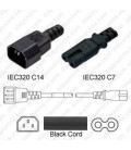 C14 Male to C7 Female 1.0 Meter 2.5 Amp 250 Volt H03VVH2-F 2x0.75 Black Power Cord