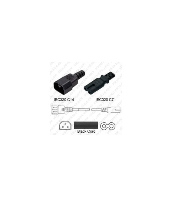 C14 Male to C7 Female 2.5 Meters 2.5 Amp 250 Volt H03VVH2-F 2x.75 Black Power Cord