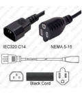 C14 Male to NEMA 5-15 Female 0.3 Meter 13 Amp 125 Volt 16/3 SJT Black Power Cord