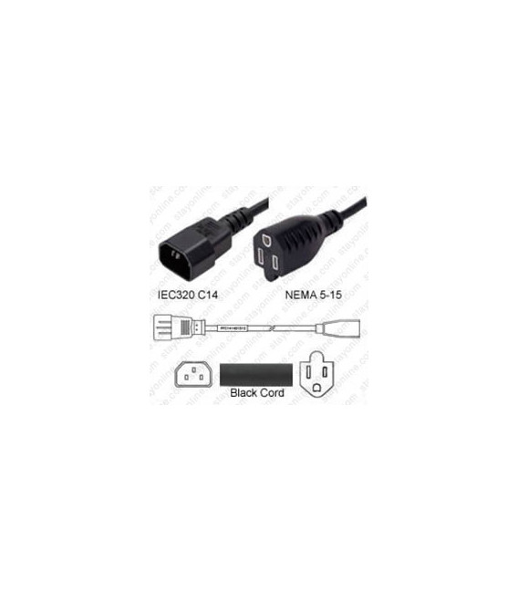 C14 Male to NEMA 5-15 Female 1.8 Meters 13 Amp 125 Volt 16/3 SJT Black Power Cord