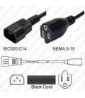 C14 Male to NEMA 5-15 Female 0.9 Meter 13 Amp 125 Volt 16/3 SJT Black Power Cord