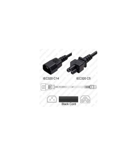 C14 Male to C5 Female 0.5 Meter 2.5 Amp 250 Volt H05VV-F 3x0.75 Black Power Cord