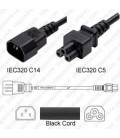 C14 Male to C5 0.5m 2.5a/250v H05VV-F3G1.0 & 18/3 SJT Power Cord - Black - CLEARANCE