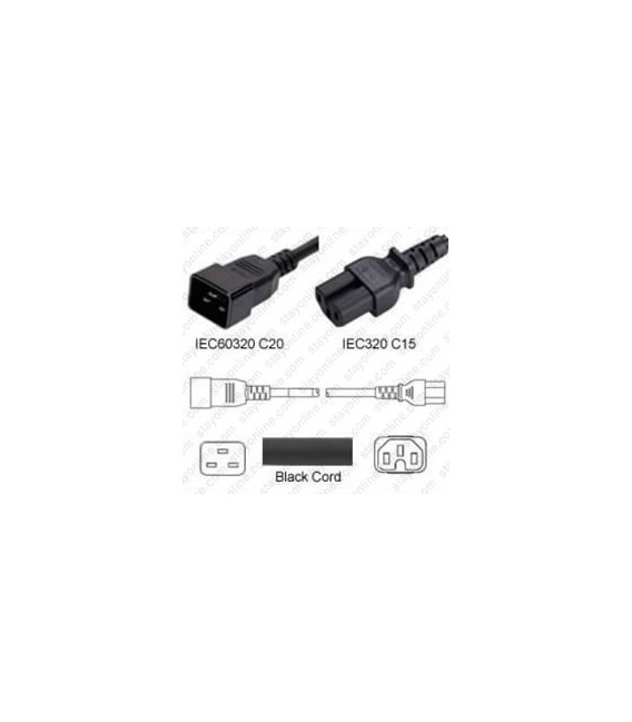 C20 Male to C15 Female 2 feet or 0.6 Meter 15 Amp 250 Volt 14/3 SJT Black Power Cord
