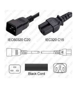 C20 Male to C15 Female 1.2 Meter 15 Amp 250 Volt 14/3 SJT Black Power Cord