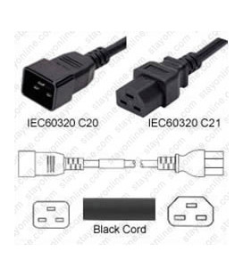 C20 Male to C21 Female 1.2 Meter 20 Amp 250 Volt 12/3 SJT Black Power Cord