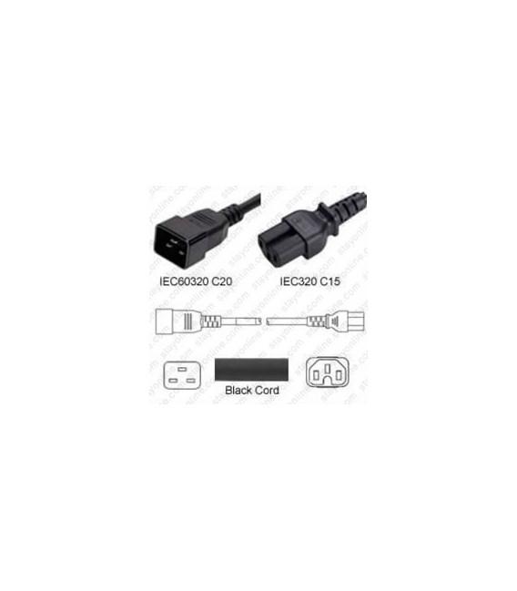 C20 Male to C15 Female 2.0 Meters 10 Amp 250 Volt H05V2V2-F 3x1.0 Black Power Cord