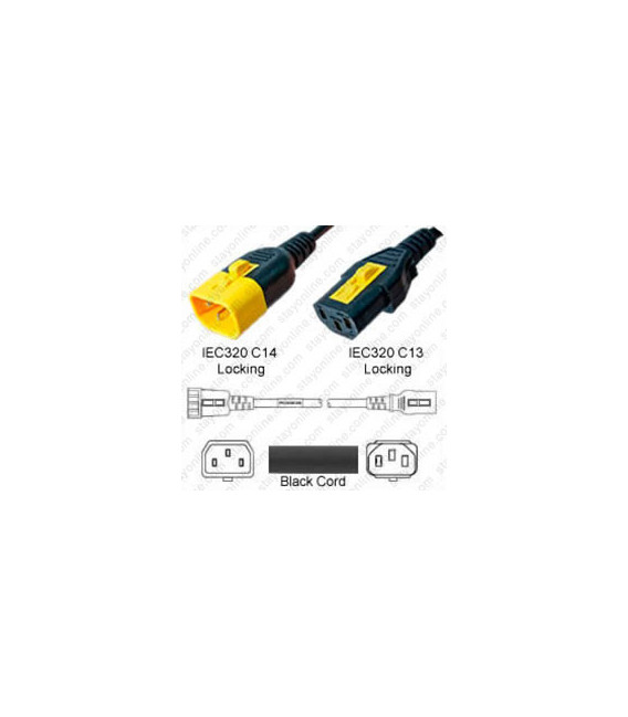 V-Lock C14 Male to V-Lock C13 Female 1.5 Meters 10 Amp 250 Volt H05VV-F 3x0.75 Black Power Cord