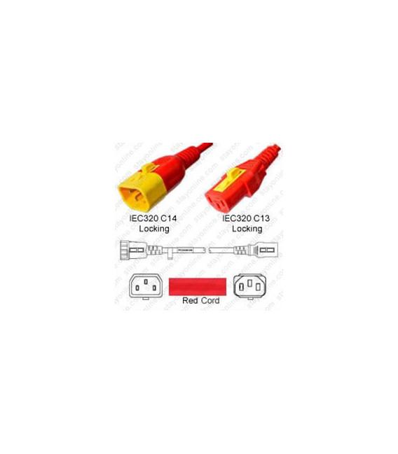 V-Lock C14 Male to V-Lock C13 Female 0.6 Meter 10 Amp 250 Volt H05VV-F 3x0.75 / SVT 18/3 Red Power Cord