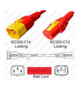 V-Lock C14 Male to V-Lock C13 Female 1.2 Meter 10 Amp 250 Volt H05VV-F 3x0.75 Red Power Cord
