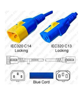 V-Lock C14 Male to V-Lock C13 Female 0.3 Meter 10 Amp 250 Volt H05VV-F 3x0.75 / SVT 18/3 Blue Power Cord
