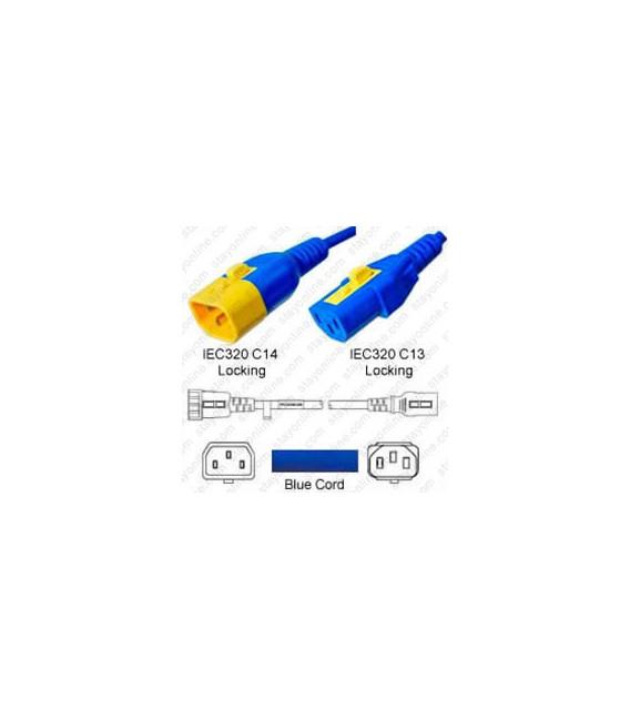 V-Lock C14 Male to V-Lock C13 Female 0.6 Meter 10 Amp 250 Volt H05VV-F 3x0.75 / SVT 18/3 Blue Power Cord