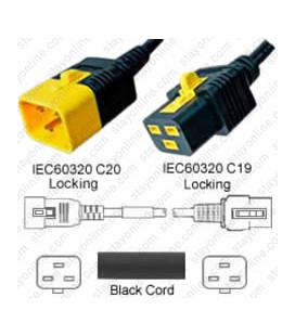 V-Lock C20 Male to V-Lock C19 Female 0.6 Meter 16 Amp 250 Volt Hybrid Black Power Cord