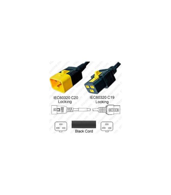 V-Lock C20 Male to V-Lock C19 Female 3.7 Meter 16 Amp 250 Volt Hybrid Black Power Cord