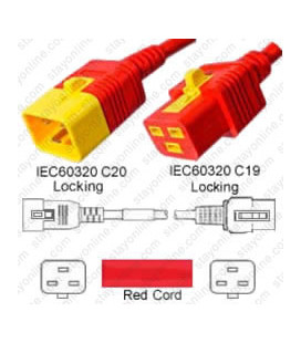 V-Lock C20 Male to V-Lock C19 Female 1.8 Meters 16 Amp 250 Volt Hybrid Red Power Cord