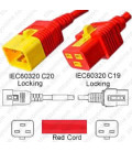 V-Lock C20 Male to V-Lock C19 Female 1.8 Meters 16 Amp 250 Volt Hybrid Red Power Cord