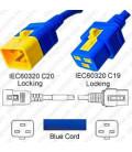 V-Lock C20 Male to V-Lock C19 Female 0.6 Meter 16 Amp 250 Volt Hybrid Blue Power Cord