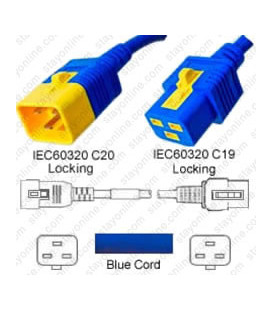 V-Lock C20 Male to V-Lock C19 Female 1.2 Meter 16 Amp 250 Volt Hybrid Blue Power Cord