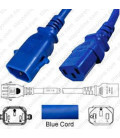 P-Lock C14 Male to C13 Female 1.0 Meter 10 Amp 250 Volt H05VV-F 3x1.0 Blue Power Cord