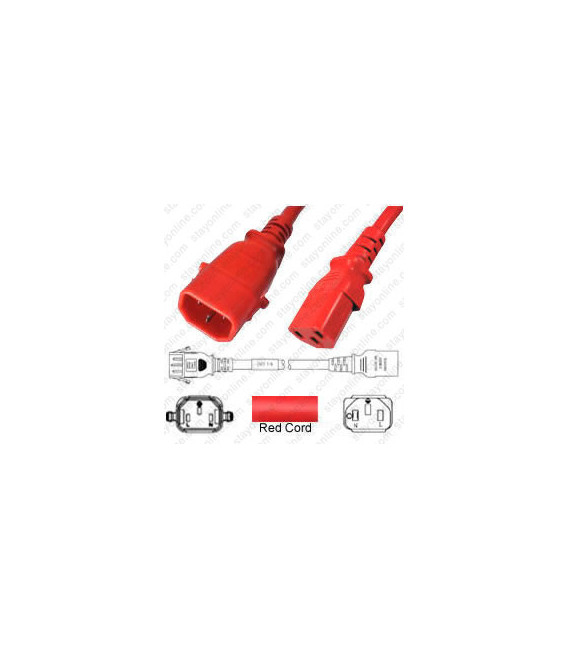 P-Lock C14 Male to C13 Female 1.0 Meter 10 Amp 250 Volt H05VV-F 3x1.0 Red Power Cord