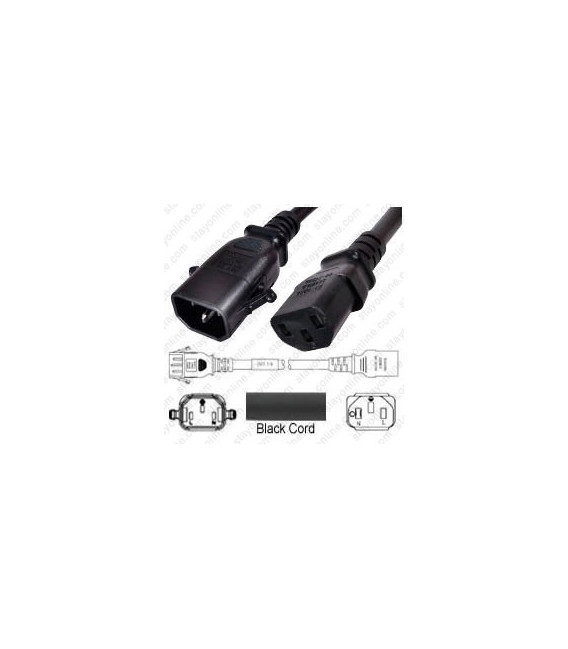 P-Lock C14 Male to C13 Female 1.0 Meter 10 Amp 250 Volt H05VV-F 3x1.0 Black Power Cord