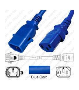P-Lock C14 Male to C13 Female 1.5 Meter 10 Amp 250 Volt H05VV-F 3x1.0 Blue Power Cord