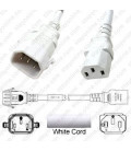 P-Lock C14 Male to C13 Female 2.0 Meter 10 Amp 250 Volt H05VV-F 3x1.0 White Power Cord