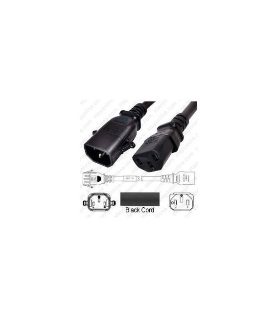 P-Lock C14 Male to C13 Female 1.0 Meter 10 Amp 250 Volt H05VV-F 3x0.75 Black Power Cord