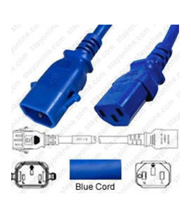 P-Lock C14 Male to C13 Female 1.2 Meter 10 Amp 250 Volt H05VV-F 3x0.75 Blue Power Cord