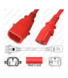 P-Lock C14 Male to C13 Female 1.2 Meter 10 Amp 250 Volt H05VV-F 3x0.75 Red Power Cord