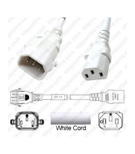 P-Lock C14 Male to C13 Female 1.0 Meter 10 Amp 250 Volt H05VV-F 3x1.0 White Power Cord