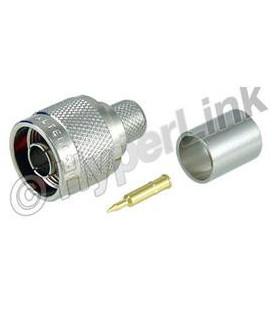 Conector N macho, Crimpar, WBC400 - L-COM para usar en frecuencias de 0-6GHz