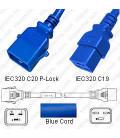 P-Lock C20 Male to C19 Female 1.0 Meter 16 Amp 250 Volt H05VV-F 3x1.5 Blue Power Cord