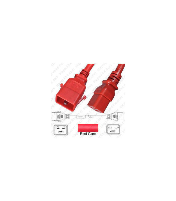 P-Lock C20 Male to C19 Female 1.2 Meter 16 Amp 250 Volt H05VV-F 3x1.5 Red Power Cord