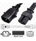 P-Lock C14 Male to C15 Female 2.0 Meter / 6.5 feet 10 Amp 250 Volt H05RR-F 3x1.0 Black Power Cord