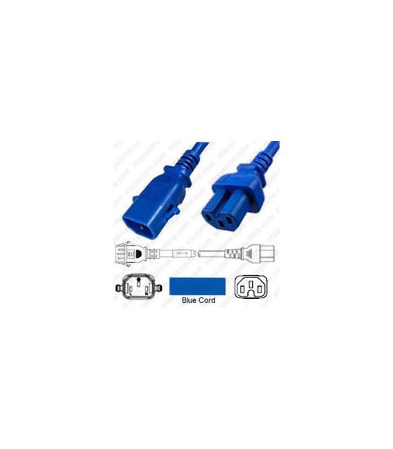 P-Lock C14 Male to C15 Female 1.5 Meter / 5 feet 10 Amp 250 Volt H05RR-F 3x1.0 Blue Power Cord